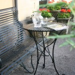 Slatted top cafe table by Ironart of Bath