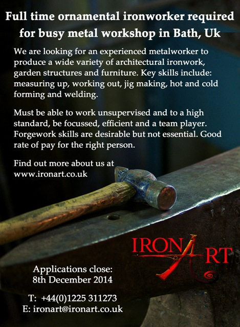 Ironart Job Advert - Nov 2014