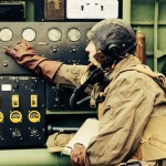 Martin Smith with the Short Stirling bomber instrument panel