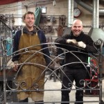Adrian Booth and Dom West of Ironart Ltd with the bespoke double bed frame