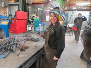 Mary settling in the Ironart workshop