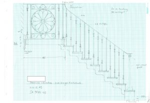 Working drawing for decorative staircase, landing and balustrade