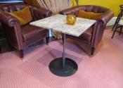 Square mild steel drinks table, Abbey Hotel, Bath