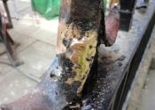 Detail of brass brazed repairs