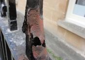 Damage to the original railing finials