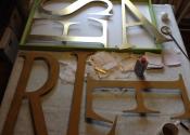 Krysta Brooks gilds the lettering