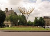Ironart's Sun Flower sculpture on Bathwick Hill, Bath