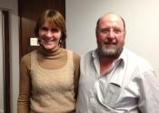 Outgoing administrator Caroline Preston with current Chairman Adrian Legge