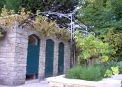 Decorative wrought iron garden pergola