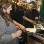Karen Pratt from Nadfas visits Ironart of Bath